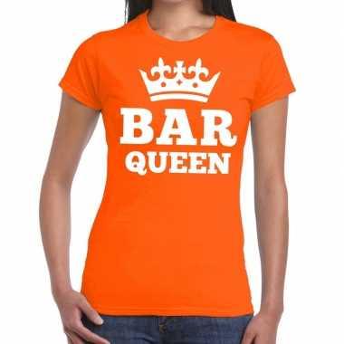 Bar queen kroontje shirt oranje dames