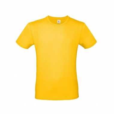 Basic heren shirt ronde hals geel katoen