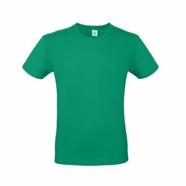 Basic heren shirt ronde hals groen katoen