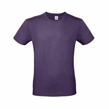 Basic heren shirt ronde hals paars katoen
