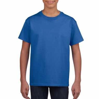 Basic kinder shirt meisjes jongens ronde hals blauw katoen