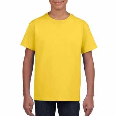 Basic kinder shirt meisjes jongens ronde hals geel katoen