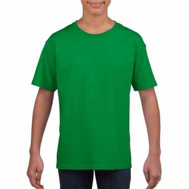 Basic kinder shirt meisjes jongens ronde hals groen katoen