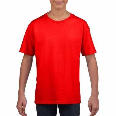 Basic kinder shirt meisjes jongens ronde hals rood katoen