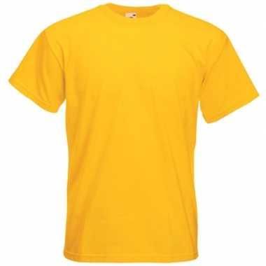 Basis heren t shirt geel ronde hals