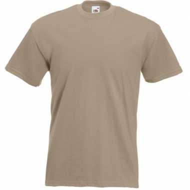 Basis heren t shirt kaky beige ronde hals