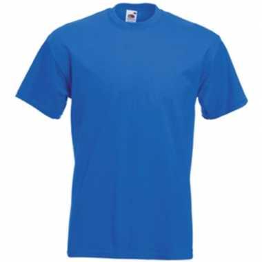 Basis heren t shirt kobalt blauw ronde hals
