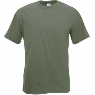 Basis heren t shirt olijf groen ronde hals