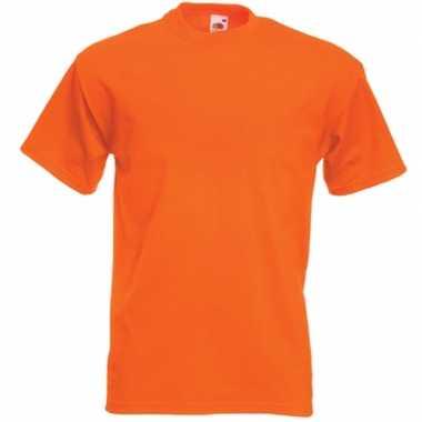 Basis heren t shirt oranje ronde hals