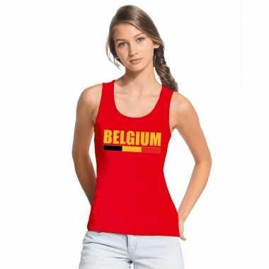 Belgie supporter mouwloos shirt/ tanktop rood dames