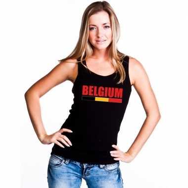 Belgie supporter mouwloos shirt/ tanktop zwart dames