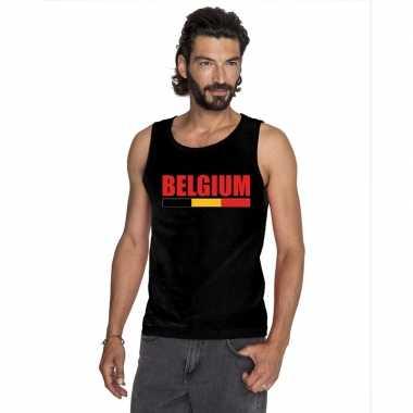 Belgie supporter mouwloos shirt/ tanktop zwart heren