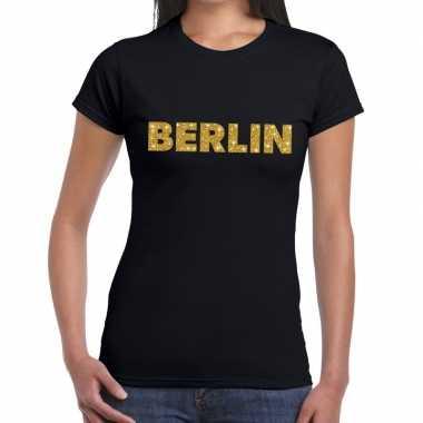 Berlin gouden letters fun t shirt zwart dames