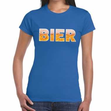 Bier fun t shirt blauw dames