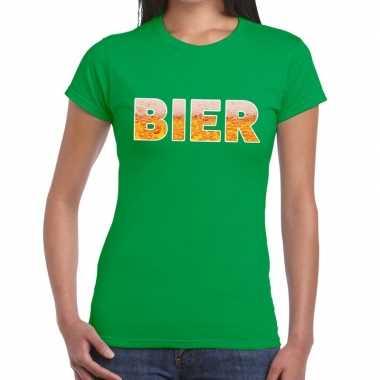 Bier fun t shirt groen dames