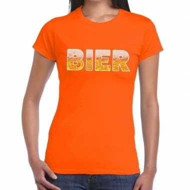Bier fun t shirt oranje dames