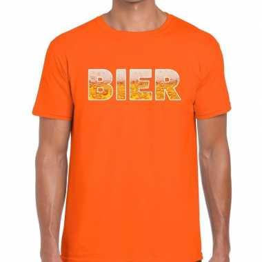 Bier fun t shirt oranje heren