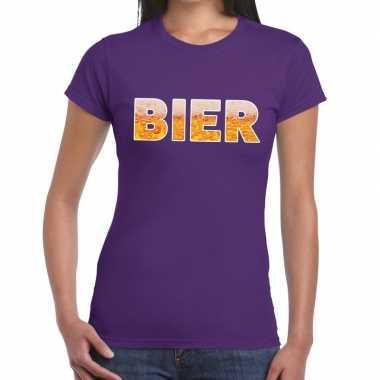 Bier fun t shirt paars dames