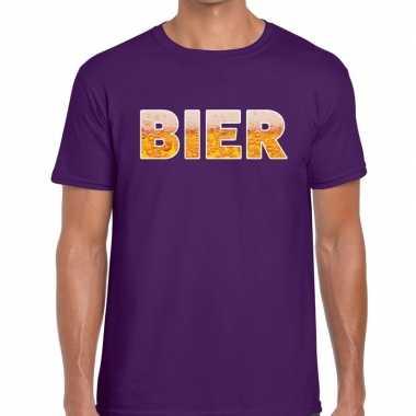 Bier fun t shirt paars heren