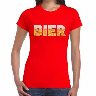 Bier fun t shirt rood dames