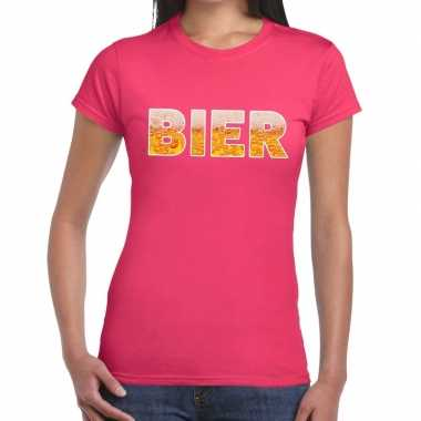 Bier fun t shirt roze dames