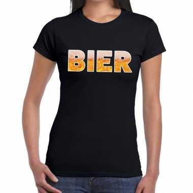 Bier fun t shirt zwart dames