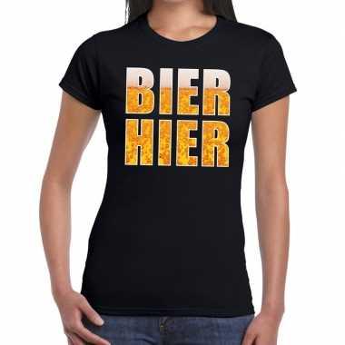 Bier hier fun t shirt zwart dames