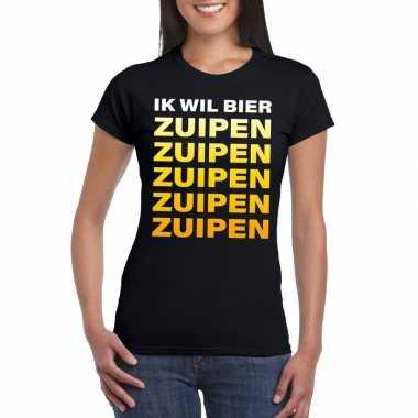 Bier zuipen fun t-shirt zwart dames