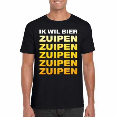 Bier zuipen fun t shirt zwart heren