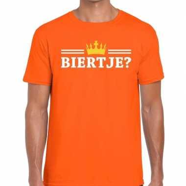 Biertje shirt oranje kroontje heren