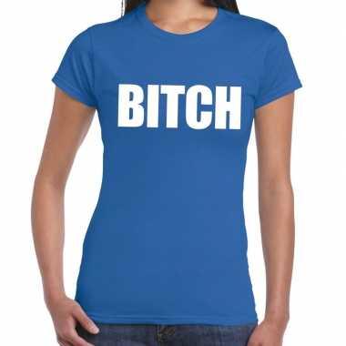 Bitch fun t shirt blauw dames