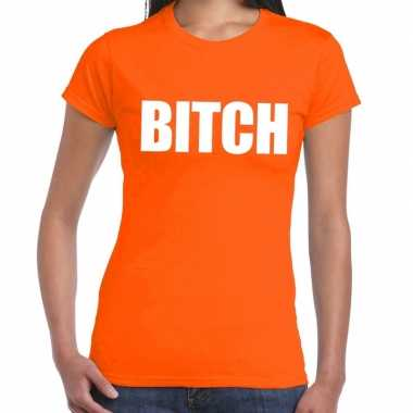 Bitch fun t shirt oranje dames