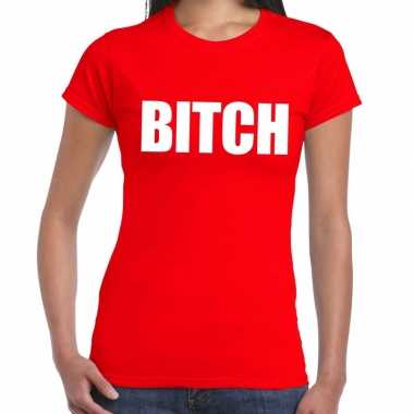 Bitch fun t shirt rood dames