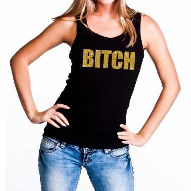 Bitch fun tanktop / mouwloos shirt zwart dames