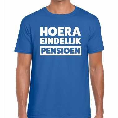 Blauw hoera eindelijk pensioen fun t shirt heren