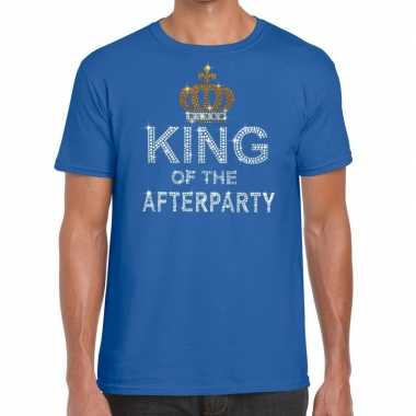 Blauw king of the afterparty glitter steentjes t shirt heren