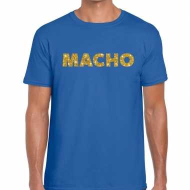 Blauw macho goud fun t shirt heren