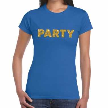 Blauw party goud fun t shirt dames