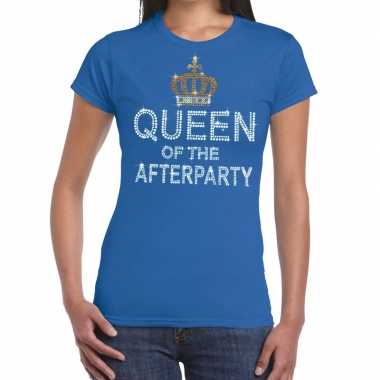 Blauw queen of the afterparty glitter steentjes t shirt dames