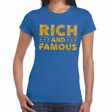 Blauw rich and famous goud fun t shirt dames