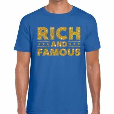 Blauw rich and famous goud fun t shirt heren