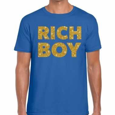Blauw rich boy goud fun t shirt heren