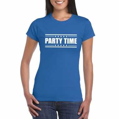 Blauw t shirt dames tekst party chick