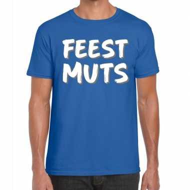 Blauw t shirt feestmuts heren