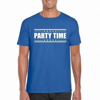 Blauw t shirt heren tekst party time