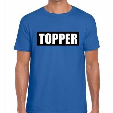 Blauw t shirt heren tekst topper zwarte balk