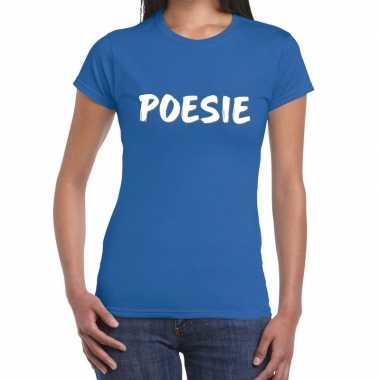 Blauw t shirt poesie dames