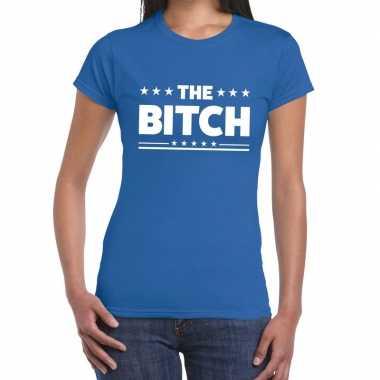 Blauw t shirt the bitch dames