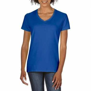 Blauwe dames casual t shirts v hals