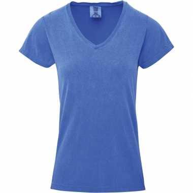 Blauwe dames t shirts v hals
